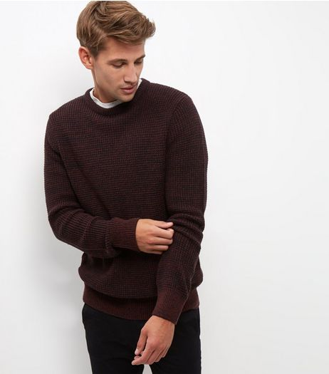Burgundy Textured Jumper  | New Look