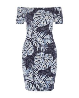 Blue Jungle Print Bardot Neck Bodycon Dress  | New Look