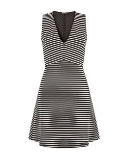 Black Stripe V Neck Skater Dress  | New Look