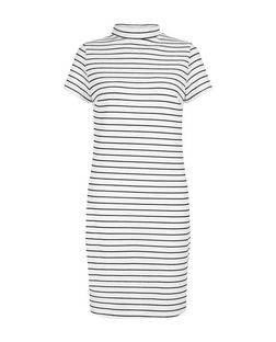 White Stripe Funnel Neck Tunic Dress  | New Look