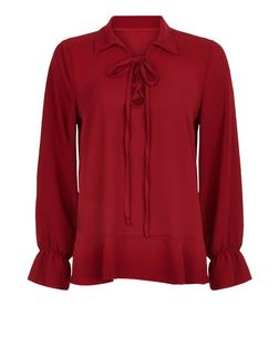 Mela Burgundy Tie Front Blouse | New Look