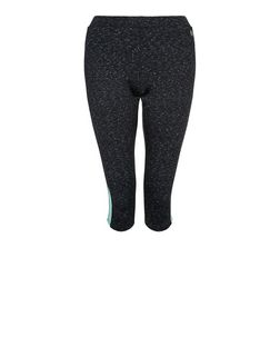 Teens Black Contrast Panel Cropped Sports Leggings | New Look