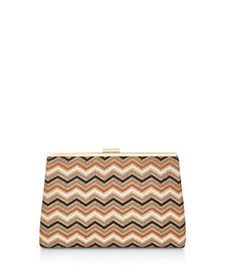 Black Zig Zag Print Clutch | New Look