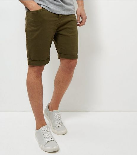 Olive Green Turn Up Shorts  | New Look