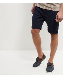 Navy Turn Up Shorts  | New Look