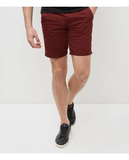 Dark Red Turn Up Chino Shorts  | New Look