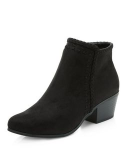 Black Plaited Trim Pointed Ankle Boots  | New Look