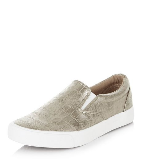 Pewter Metallic Textured Slip On Plimsolls | New Look
