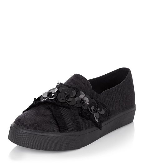 Black Floral Embellished Cross Strap Slip On Plimsolls  | New Look