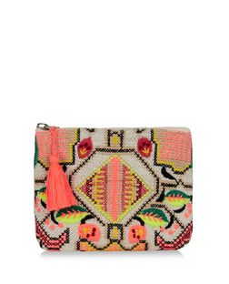 Multicoloured Embroidered Tassel Zip Top Purse | New Look
