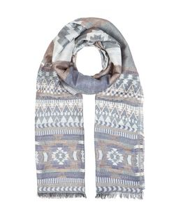 Blue Aztec Print Jacquard Scarf | New Look