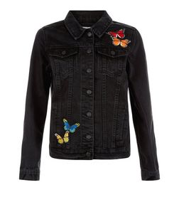 Black Butterfly Badge Denim Jacket  | New Look