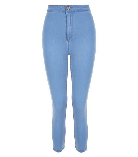 Light Blue High Waist Super Skinny Cropped Jeans  | New Look