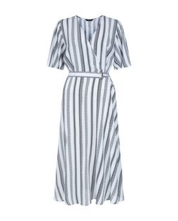 White Stripe Wrap Dress | New Look