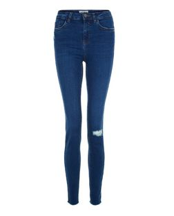 Navy Ripped Knee Skinny Jeans  | New Look