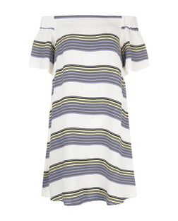 White Contrast Stripe Bardot Neck Tunic Dress  | New Look