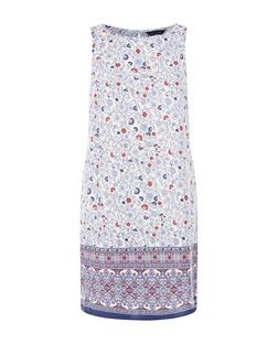 White Floral Print Sleeveless Tunic Dress  | New Look