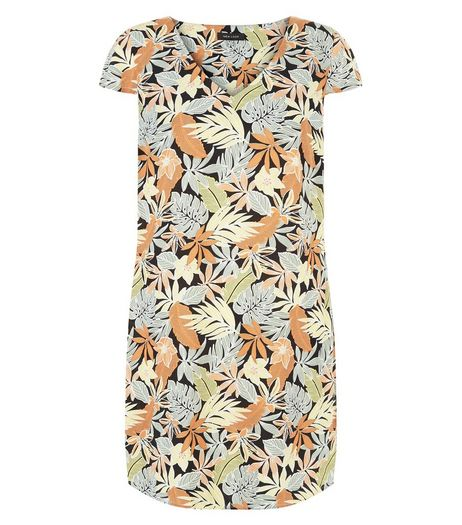 Black Leaf Print V Neck Tunic Dress  | New Look