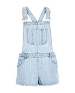 Pale Blue Denim Stripe Fray Hem Shorts Dungarees | New Look