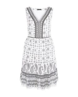 White Abstract Print Sleeveless Smock Dress  | New Look