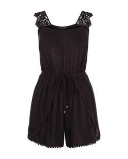 Black Pom Pom Trim Crochet Strap Playsuit  | New Look