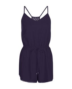 Navy Strappy Lace Back Tie Waist Playsuit  | New Look