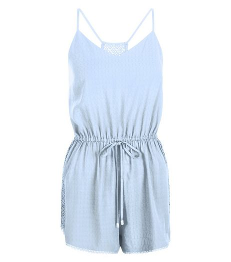 Pale Blue Strappy Lace Back Tie Waist Playsuit | New Look