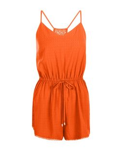Bright Orange Strappy Lace Back Tie Waist Playsuit | New Look