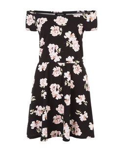 Pink Floral Print Bardot Neck Skater Dress  | New Look