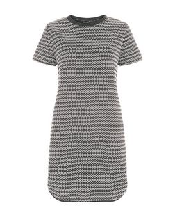 Black Geo Stripe Jacquard Curve Hem Tunic Dress  | New Look