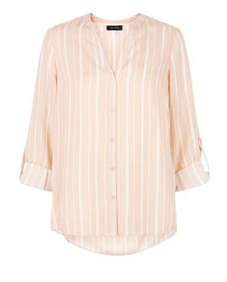Pink Stripe Notch Neck Roll Sleeve Shirt  | New Look