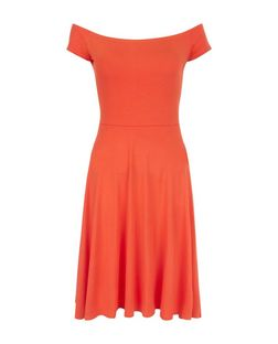 Bright Orange Bardot Neck Midi Skater Dress  | New Look