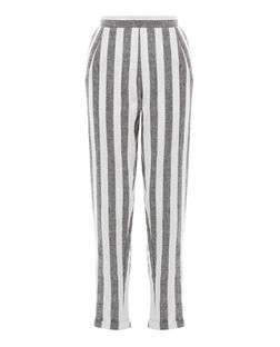 Grey Stripe Cropped Trousers  | New Look
