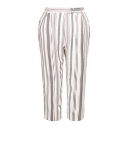 White Stripe Tie Waist Cropped Trousers  | New Look