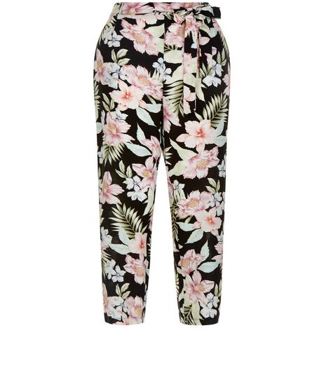 Black Tropical Floral Print Tie Waist Trousers  | New Look