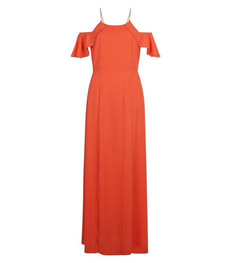 Orange Frill Cold Shoulder Chain Strap Maxi Dress  | New Look