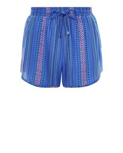 Blue Stripe Runner Shorts | New Look