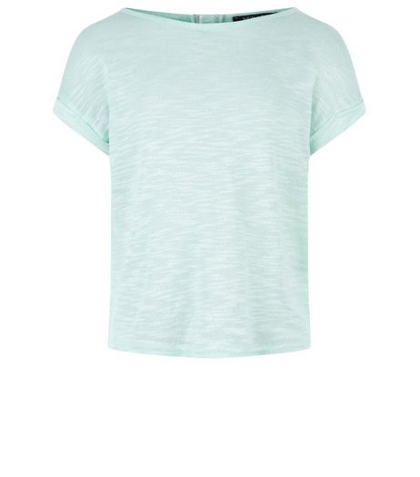 Girls Mint Green Fine Knit Zip Back T-Shirt | New Look
