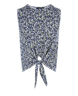 Girls Blue Daisy Print Tie Front Vest | New Look
