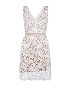 Petite White Lace Ladder Trim Skater Dress  | New Look