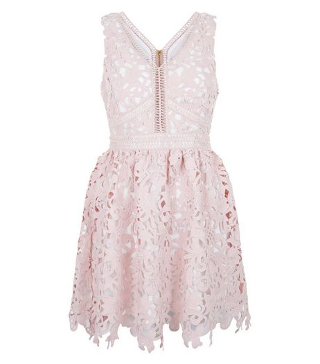 Petite Mid Pink Lace Ladder Trim Skater Dress  | New Look