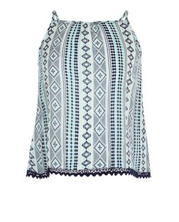 Girls Blue Aztec Print Crochet Trim Cami | New Look