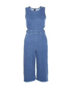 Petite Blue Denim Cut Out Jumpsuit | New Look