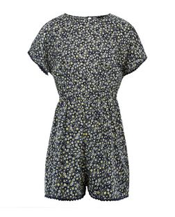 Girls Blue Daisy Print Playsuit | New Look