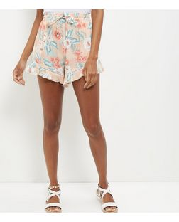 Pink Floral Print Frill Hem Shorts | New Look