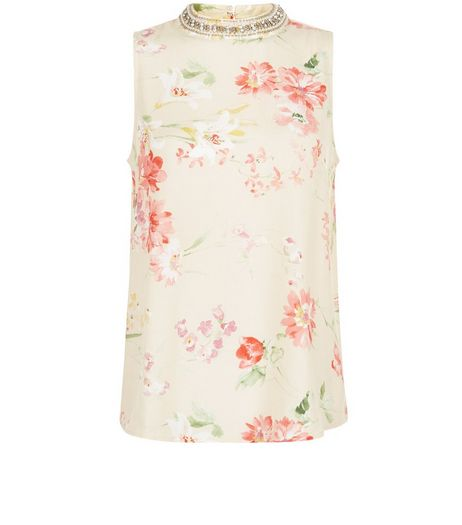 Pink Floral Print Embellished High Neck Sleeveless Top  | New Look