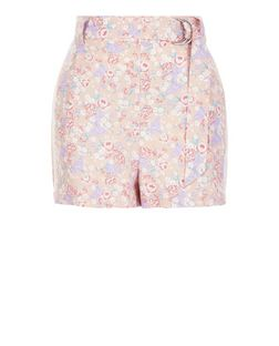 Cream Floral Print D-Ring Belted Shorts  | New Look