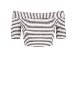 White Stripe Bardot Neck Crop Top  | New Look