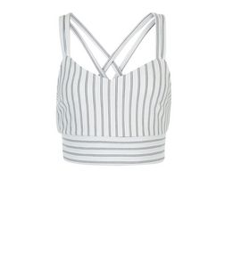 White Stripe Strappy Back Crop Top  | New Look
