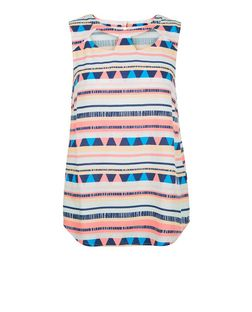 White Abstract Stripe Cut Out Front Sleeveless Top  | New Look